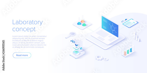 Photo  Medical research laboratory concept in isometric vector illustration