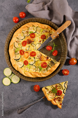 vegetable quiche with zucchini, tomato and goat cheese Canvas Print