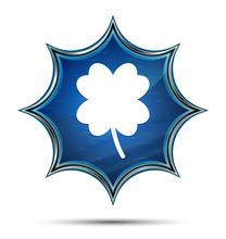 Lucky Four Leaf Clover Icon Magical Glassy Sunburst Blue Button
