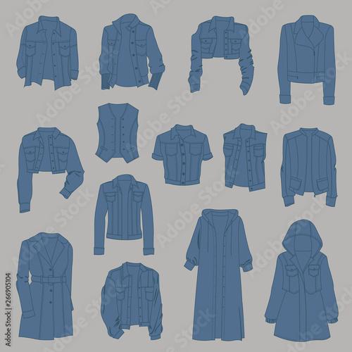 Women's  denim outerwear, different models, isolated on gray background Fototapeta