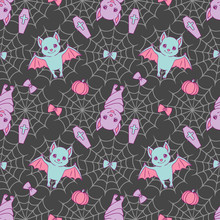 Cute Halloween Seamless Pattern With Violet And Blue Cartoon Bats, Spiderwebs, Ribbons, Pumpkins And Eyeballs On Dark Black Background