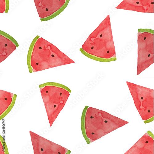 Hand drawn watercolor watermelon pattern Billede på lærred