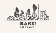 Baku Skyline,Azerbaijan Vintage Vector Illustration, Hand Drawn Buildings