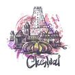 Chennai abstract color drawing. Chennai sketch vector illustration