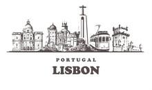 Lisbon Sketch Skyline,Portugal Vintage Vector Illustration.Hand Drawn