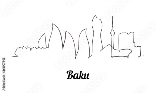 Fototapeta One line style Baku sketch illustration on white background. obraz na płótnie