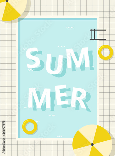 Fotobehang Retro sign retro pool summer poster