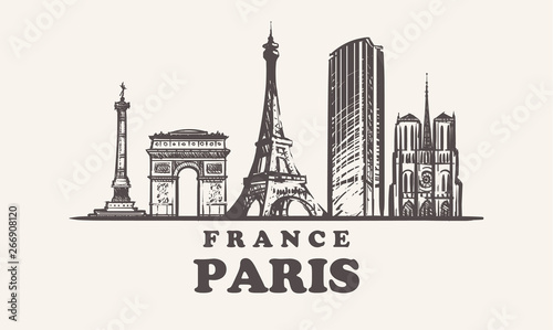 Paris skyline,France vintage vector illustration, hand drawn buildings Canvas Print