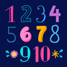 Numbers For Kids Funny Illustration. Cute Maths Elements And Numerals Forchildren