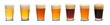 Leinwanddruck Bild - Set of many beer glasses with different beer isolate on white background.