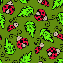 Ladybugs Seamless Pattern. Vector Repeating Wallpaper With Cute Doodle Ladybirds.