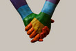 canvas print picture - hands patterned with the rainbow flag