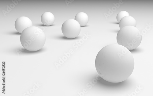 White abstract background. Set of white balls isolated on white backdrop.