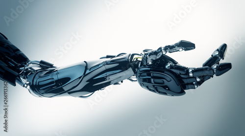 Foto  Future technology in black prosthetic hand on white