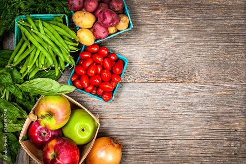 Fresh farmers market fruit and vegetable from above with copy space - 266913758