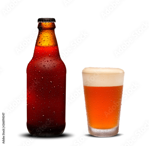 300ml beer bottles and glass beer with drops on white background. Canvas Print