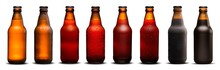 300ml Beer Bottles With Drops And Dries On White Background. Pilsen, Porter, Ipa And Weiss.