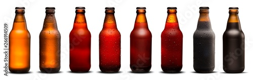 фотография 300ml beer bottles with drops and dries on white background