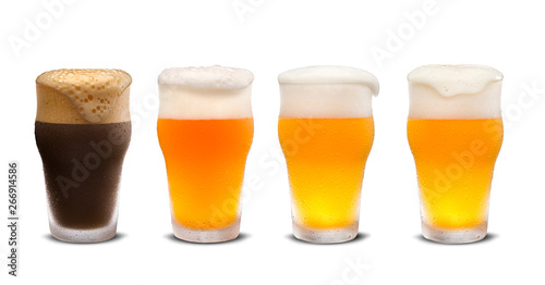 фотография Set of many beer glasses with different beer isolate on white background