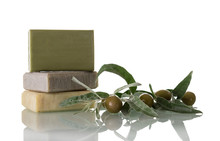 Natural Handmade Soap With Olive Oil Isolated On White