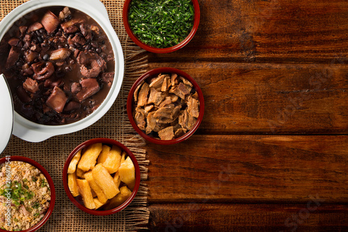 Brazilian Feijoada Food. Top view Canvas