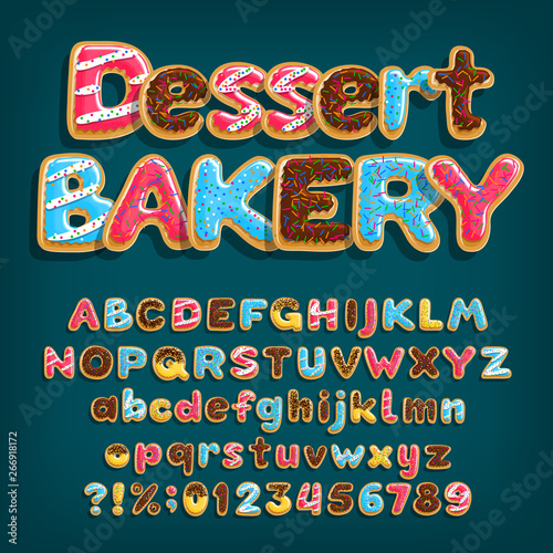 Leinwand Poster Dessert Bakery alphabet font