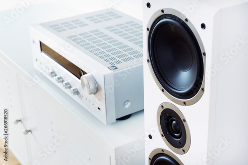 Modern audio stereo system with white speakers on bureau in modern interior Canvas Print