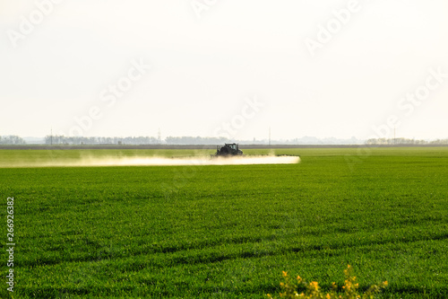 Foto auf Acrylglas Schwan tractor with the help of a sprayer sprays liquid fertilizers on young wheat in the field.