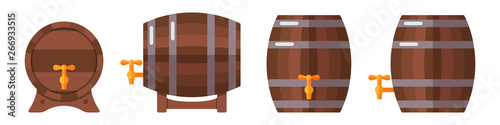 Valokuvatapetti Set of wooden barrels isolated on white background