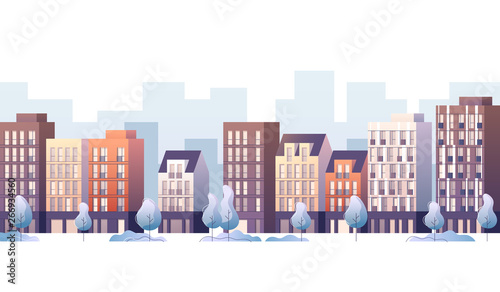 City street panoramic cityscape. Vector illustration.