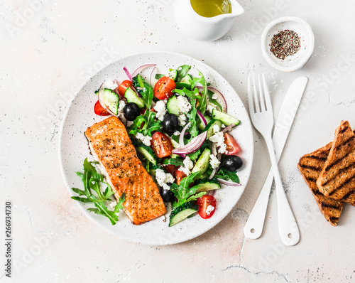 Healthy balanced lunch - grilled red fish fillet salmon and tomatoes, cucumbers, Fotobehang