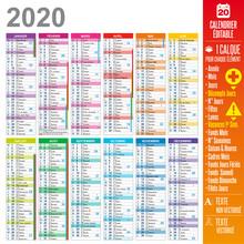 Calendrier 2020 - Multicalques Modifiables