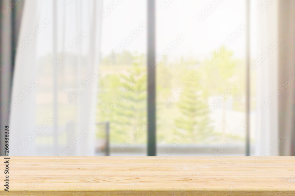 Fototapety, obrazy: Empty wood table top with window curtain abstract blur background for product display