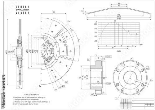 Fotografía  technical drawing the clutch, construction draft with horizontal frame on the white background