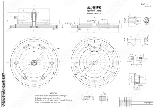 technical drawing the clutch, construction draft with horizontal frame on the white background Canvas Print