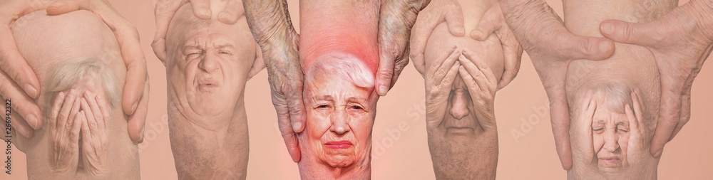 Fototapety, obrazy: Senior men holding the knee with pain. Collage. Concept of abstract pain and despair.