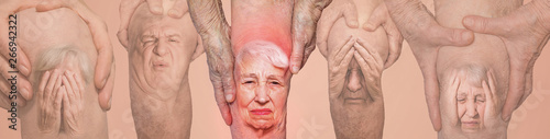 Senior men holding the knee with pain. Collage. Concept of abstract pain and despair.