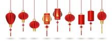 Set Of Hanging Red Chinese Lanterns Isolated On White Background