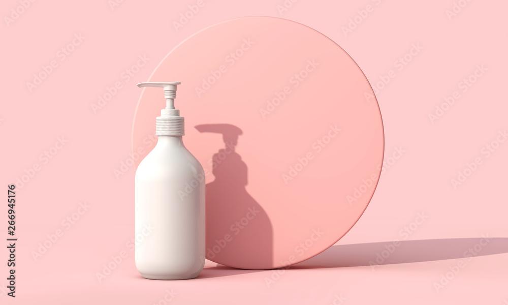 Fototapeta Blank white cosmetic skincare makeup bottle on pastel pink background. 3D Render