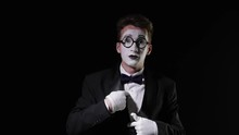 Mime Shows Gesture See Nothing Hear Nothing Say Nothing On Black Background