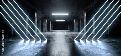 Fototapeta Triangle Neon Laser Blue Glowing Sci Fi Modern Dark Concrete Cement Asphalt Futuristic Spaceship Underground Garage Tunnel Corridor Empty Space White Glow Glossy Columns 3D Rendering obraz na płótnie