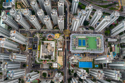 Fotografie, Obraz  Top down view of Hong Kong apartment building