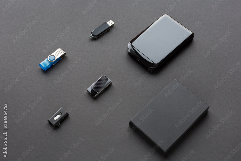 Fototapety, obrazy: Modern digital devices for the transfer and storage of information. Flash drives and external hard disks.