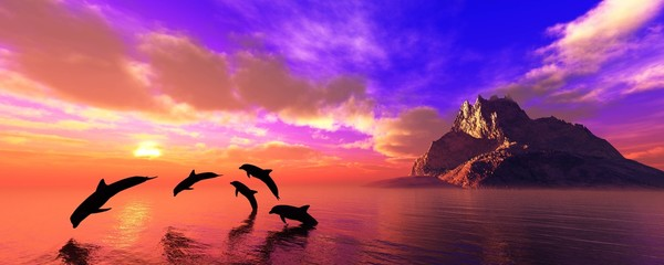 Panel Szklany Delfin Dolphins playing at sunset near the island