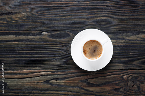 Foto op Canvas Cafe Fresh and aromatic coffee in a white cup