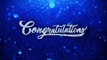 Congratulations Blue Greetings Card Abstract Blinking Sparkle Glitter Particle Looped Background. Gift, Card, Invitation, Celebration, Events, Message, Holiday Festival