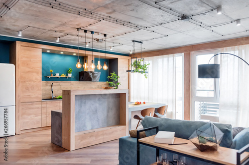 Fotografie, Obraz  Minimalist modern living room with sofa in loft style flat