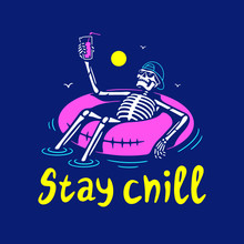 STAY CHILL SKELETON IN CAP WITH COCKTAIL AND SWIM RING COLOR BLUE BACKGROUND