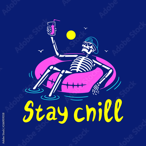 Slika na platnu STAY CHILL SKELETON IN CAP WITH COCKTAIL AND SWIM RING COLOR BLUE BACKGROUND