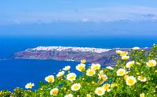 Santorini Landscape - Distant View Of Oia Across Aegean Sea, Greece